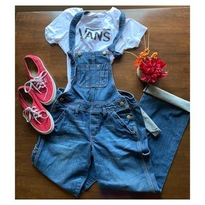 Old Navy Ultra Low Waist Blue Denim Overalls Small